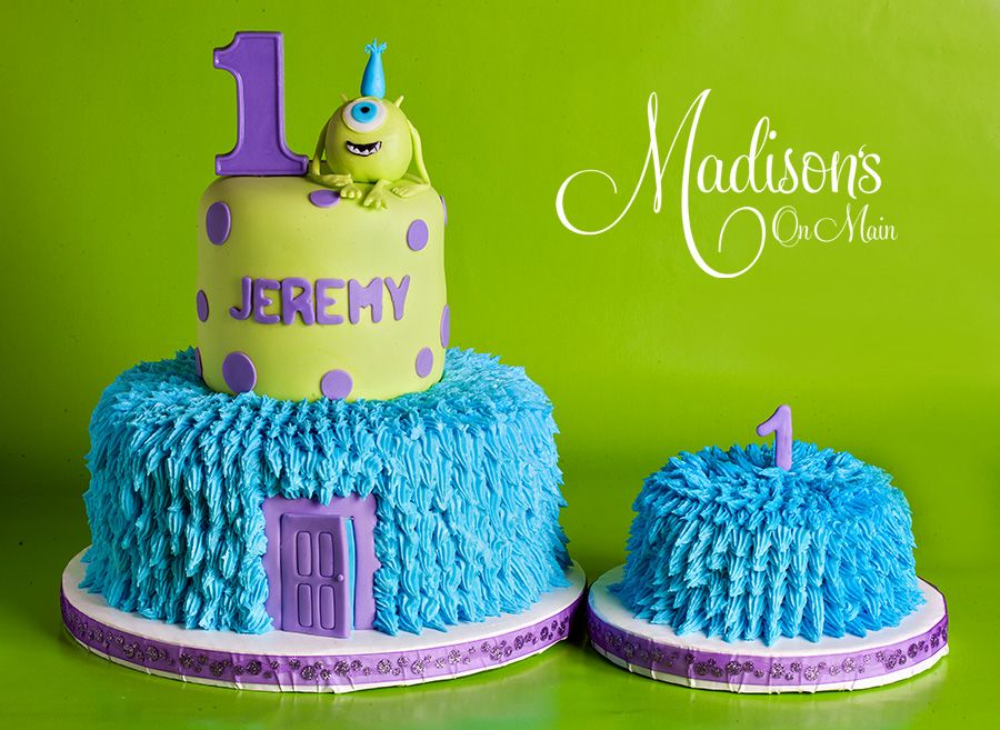 Monster S Inc First Birthday Cake With Matching Smash Cake Monster Inc Cakes First Birthday Cakes Special Occasion Cakes