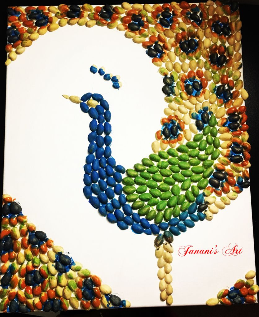 ef1ddd758a4 Peacock made out of pistachio shells …   craft   Pista…