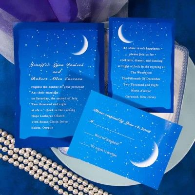 Blue Moon And Stars Wedding Invitations Ewi195 I Like This But What About Adding Two Love Birds Sitting On The