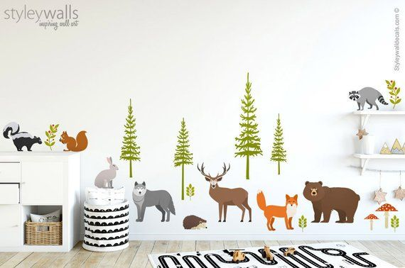 Forest Animals Wall Decal Realistic Woodland Animals Wall | Etsy