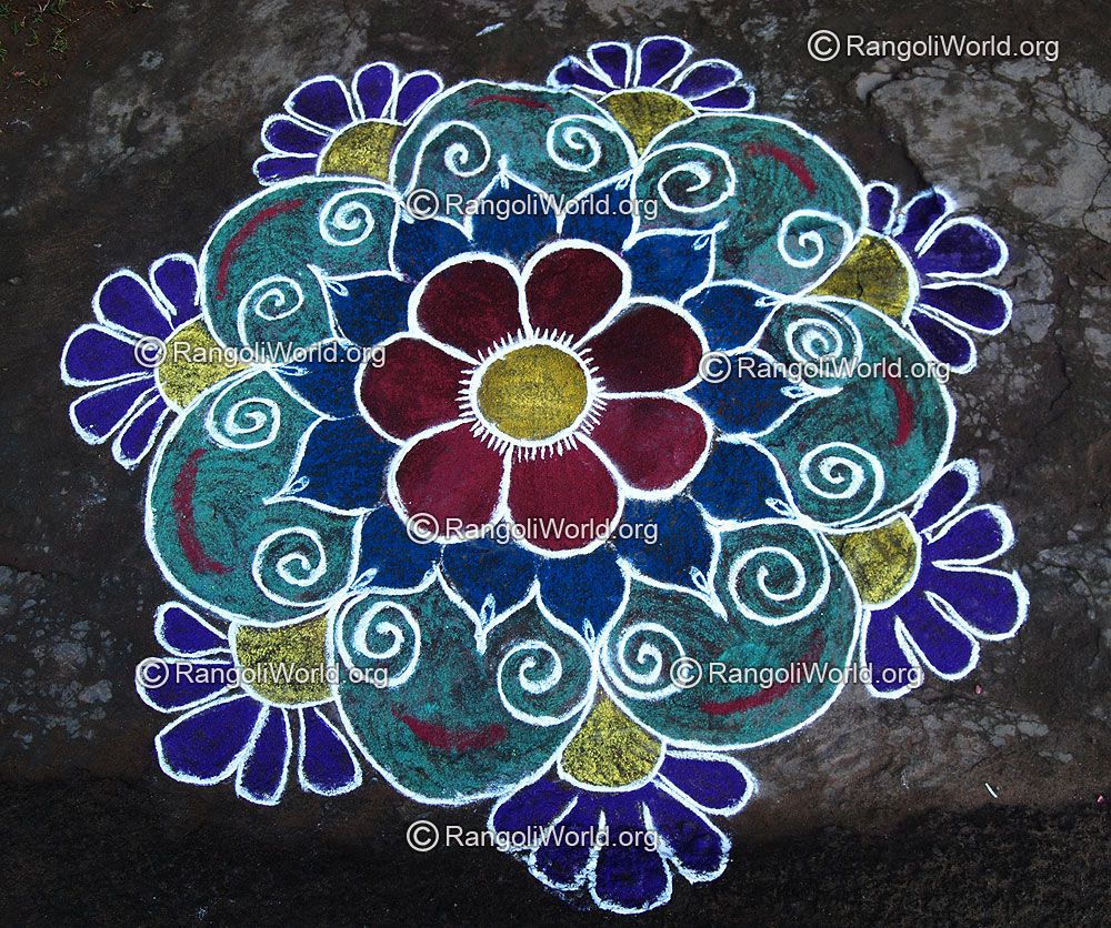 colorful-flower-freehand-rangoli-for-pongal.jpg (1000×836) | Colour ... for flower rangoli designs for competition  117dqh