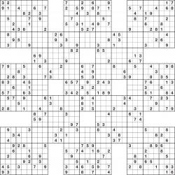 photograph about Sudoku Printable Grids named Samurai Sudoku 13-grid Matematyka Sudoku puzzles, Logic