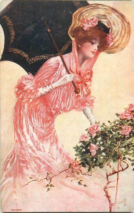 WARM ON HER CHEEK SITS BEAUTY'S HIGHEST ROSE quote THOMSON  pretty girl in pink, parasol on shoulder, by roses