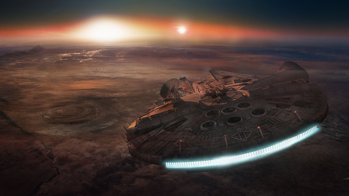 Millennium Falcon Over Tatooine Star Wars Wallpaper Star Wars Episode Vii Star Wars 7