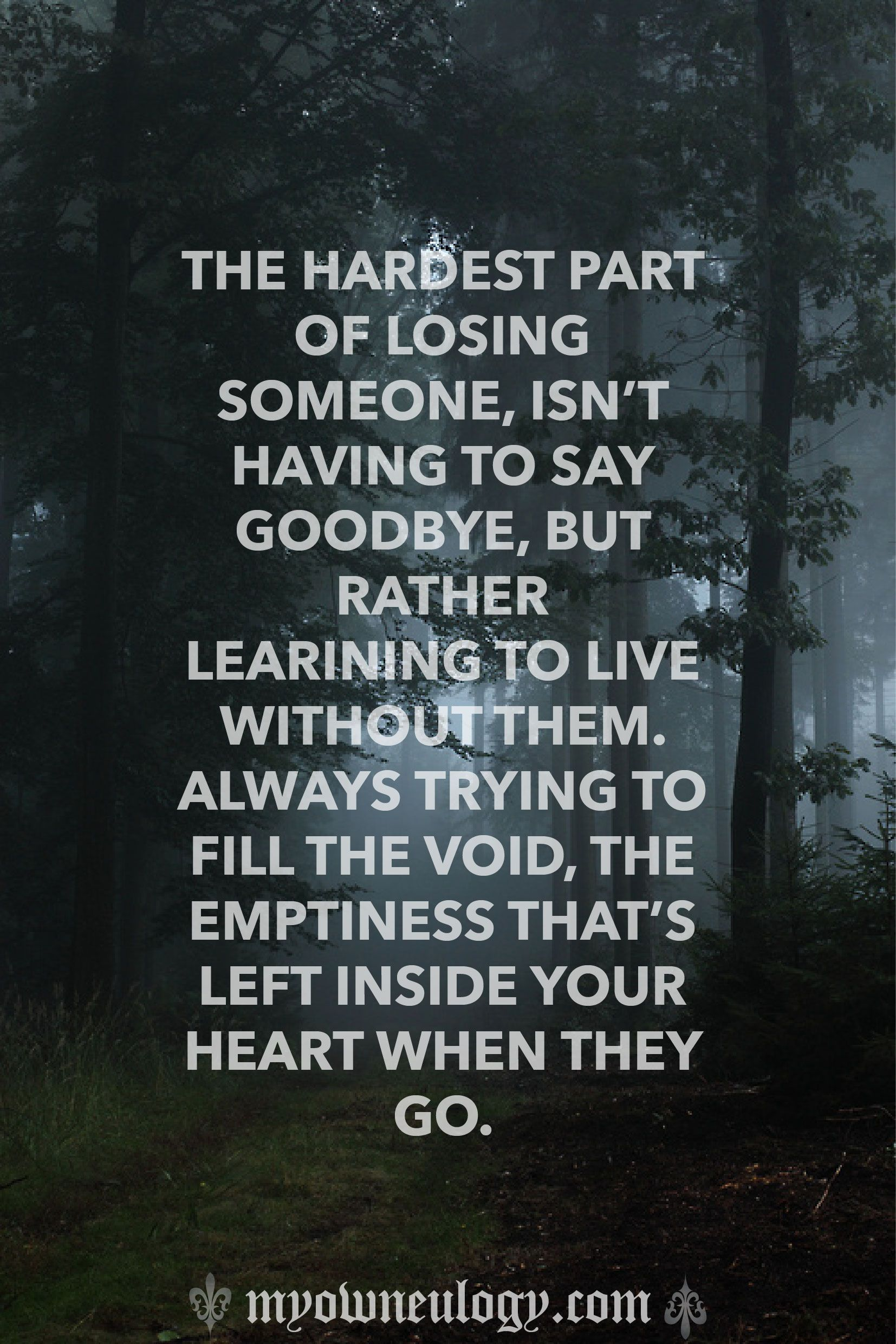 The hardest part of losing someone isn t having to say goodbye but rather learning to live without them Always trying to fill the void the emptiness