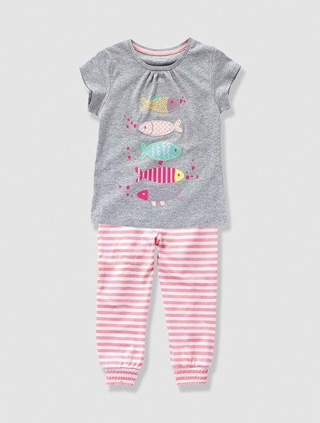 Pijama Con Pantalon Largo Nina Rosa Medio Liso Con Motivos