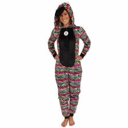 Secret Treasures Women s Zebra Character Sleepwear Adult One Piece Costume  Union Suit Pajama (Sizes XS-3X) 6fdee594b