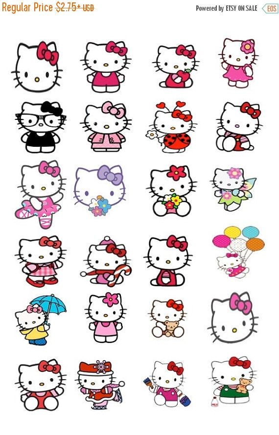 Parfait Hello Kitty Stickers These Stickers Will Fit EC Planner, Happy Planner, Or  Any Planner!! Sticker Sizes Are .50 X .50. ❤️Printed On Matte
