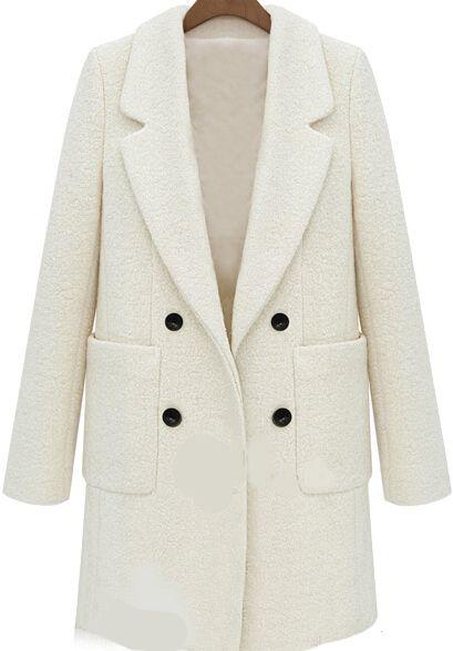 Shop Beige Lapel Long Sleeve Pockets Woolen Coat Online Sheinside Offers Beige Lapel Long Sleeve Pockets Woolen Coat Mo Palto Sherstyanoe Palto Zhenskaya Moda