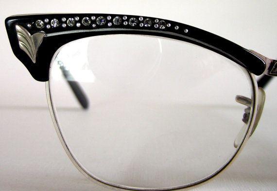 65a462be1fa2 1950's Vintage Diamante Cat Eye Eyeglasses. British. Women's. Black Reading  Glasses with Diamante Rhinestones.