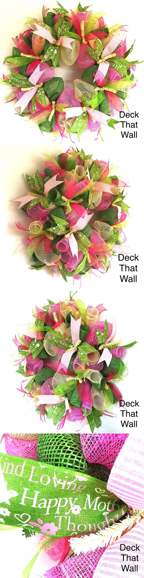 Wreaths 16498: Mother S Day Pink And Green Mesh Wreath, Deck That Wall -> BUY IT NOW ONLY: $50 on eBay!