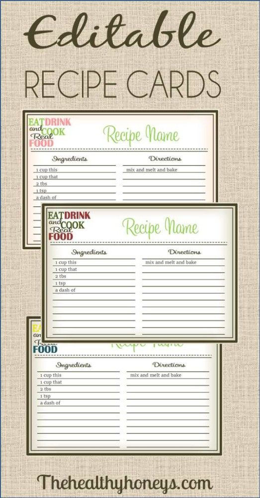 Real Food Recipe Cards DIY, Editable The Healthy Honeys