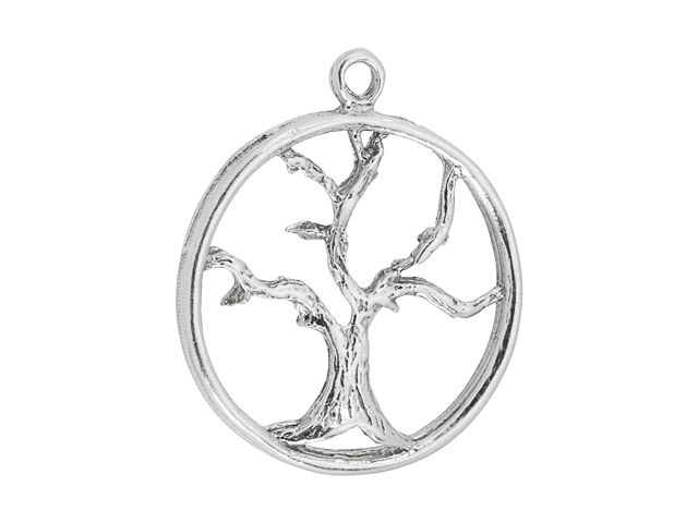 Sterling Silver Large Round Tree of Life Charm
