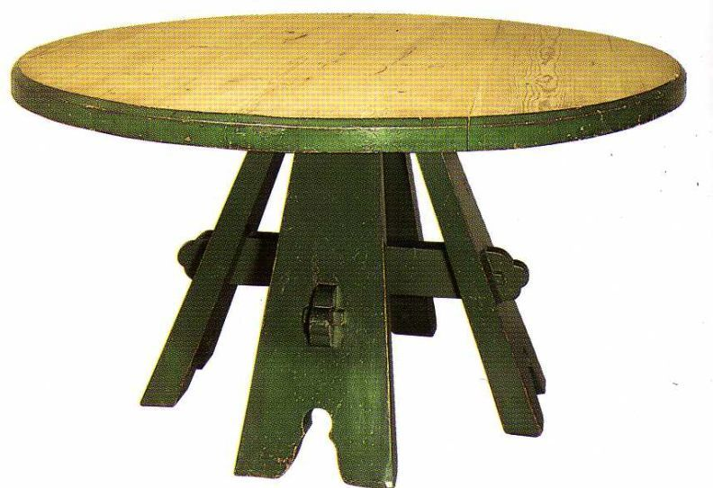 Wm Morris Co Gothic Revival Wooden Dining Table With Green