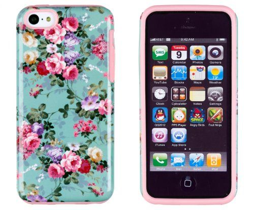 DandyCase 2in1 Hybrid High Impact Hard Vintage Sea Green Floral Pattern + Pink Silicone Case Cover For Apple iPhone 5C + DandyCase Screen Cleaner DandyCase http://www.amazon.com/dp/B00GKN7Z4K/ref=cm_sw_r_pi_dp_L0GWtb0QVYZN2QCZ
