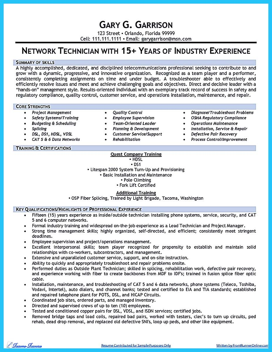 Technician Resume Nice How To Make Cable Technician Resume That Is Really Perfect
