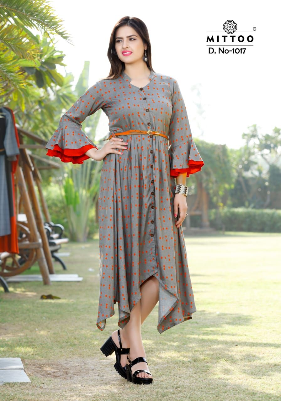 aa1b9ad687b0b  Mittoo  Belt rayon  Partywear printed  Anarkali  kurtis wholesaler. buy  online 2019 best Ethnic and Party wear  boutique choice mittoo belt kurtis  buy at ...