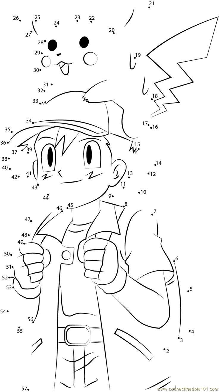 Laden Sie Das Druckbare Arbeitsblatt Cute Ash And Pikachu