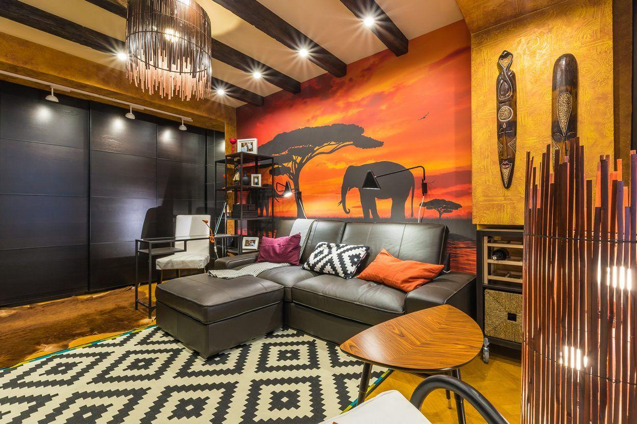 Nappali átalakítás és új dekoráció afrikai-etnikai témával, barna ...
