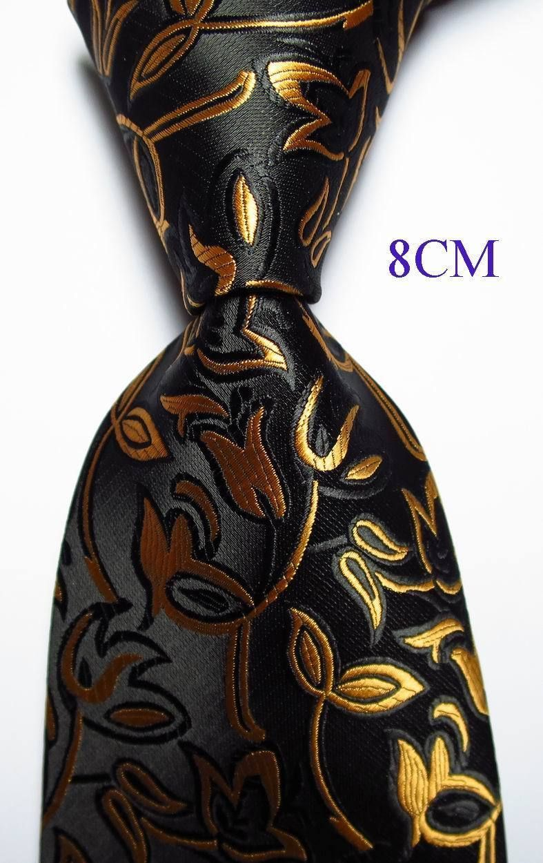 New Classic Floral Yellow Gold JACQUARD WOVEN 100/% Silk Men/'s Tie Necktie
