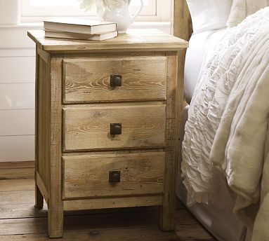 Mason Bedside Table Wax Pine Finish Potterybarn