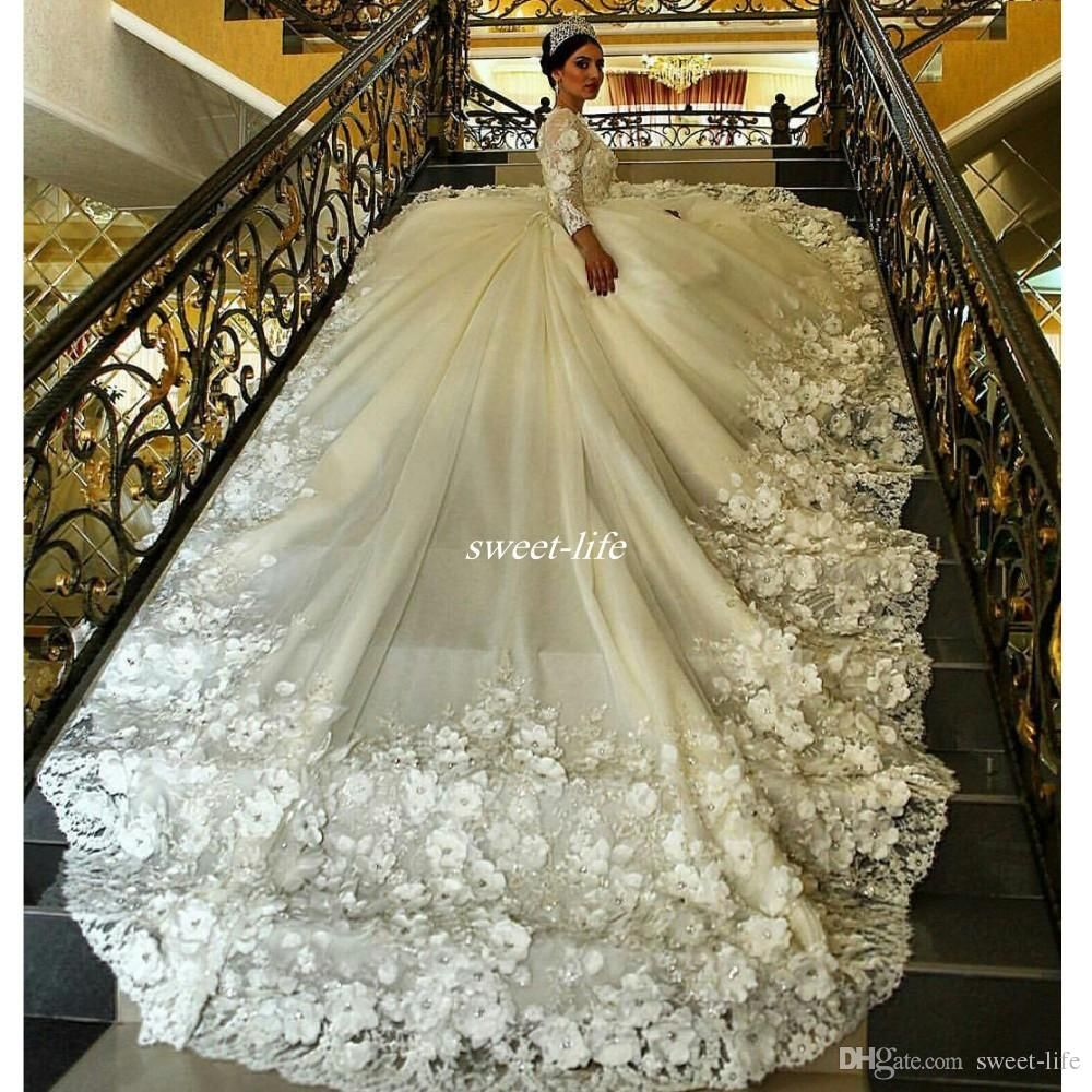 Gorgeous long sleeve ball gown wedding dresses long train sheer crew