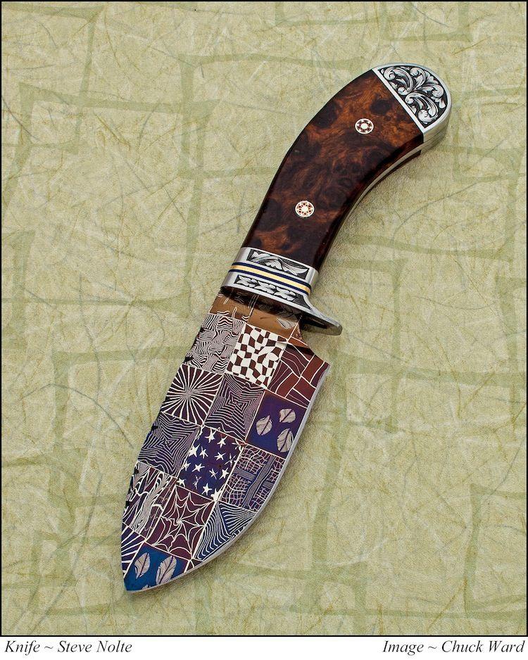 Mosaic damascus lights up the blade of Steve Nolte's wide skinner. (Chuck Ward photo)