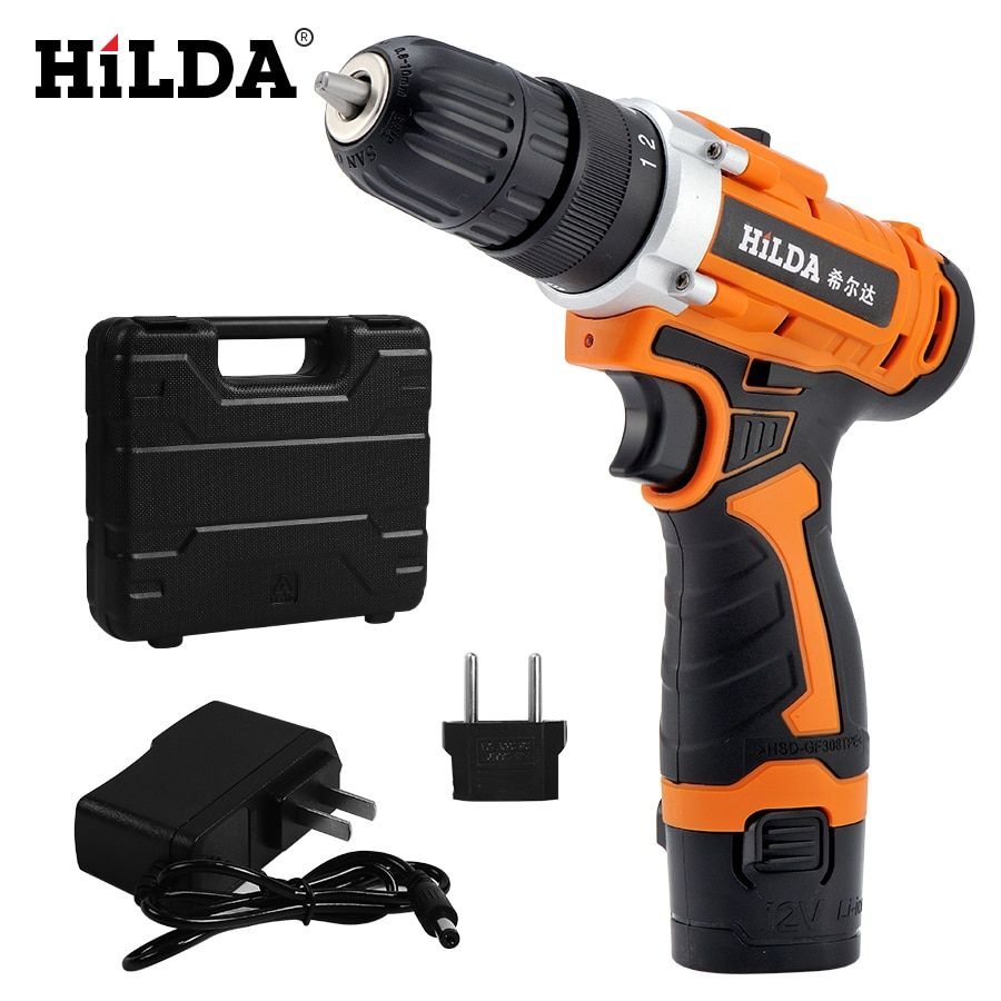 Hilda 12v Electric Drill Rechargeable Lithium Battery Electric Screwdriver Cordless Screwdriver Two Speed Power Tools Hilda Electric Drill Rechargea Listrik