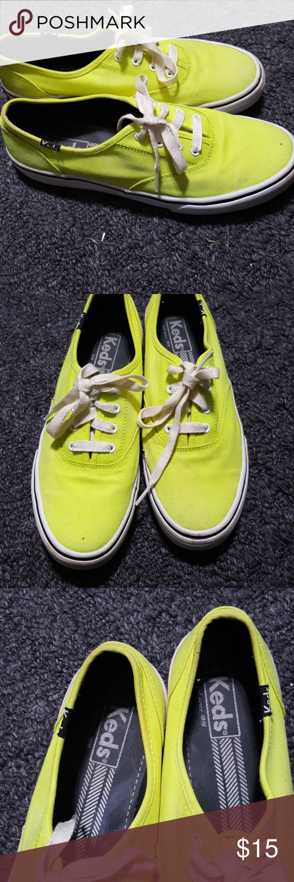 Lime green keds. Need to be cleaned a