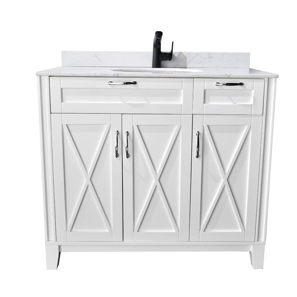 Phasat Bathroom Vanity With White Marble Top Single Sink 40 Inch