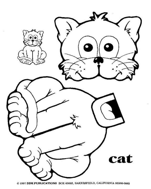 Cat Bag Opp Puppet Paper Bag Crafts Cat Template