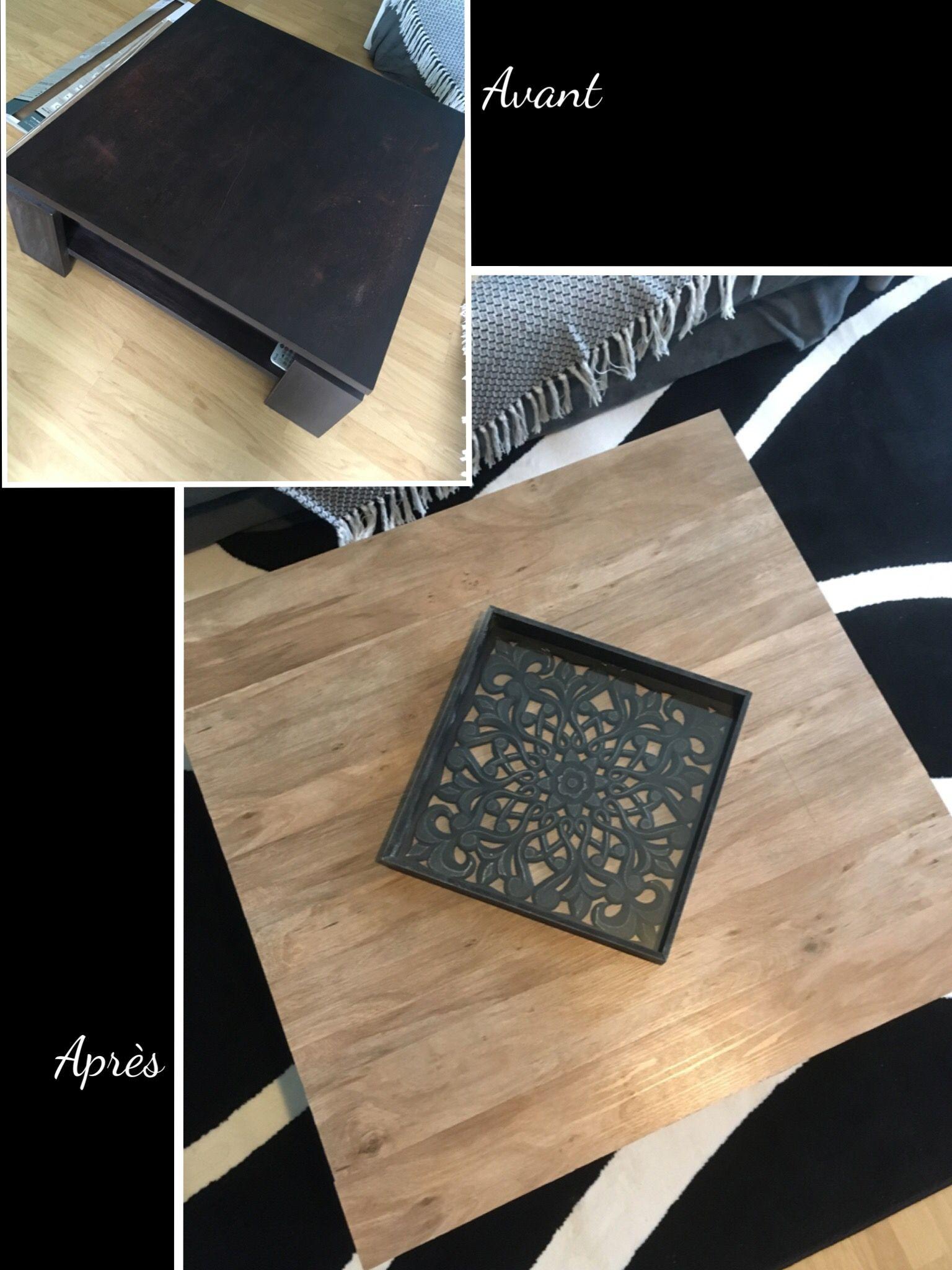 Table Basse Relookee Avec Lames De Bois Lame Pvc Adhesive Deco Fait Maison Lame De Bois
