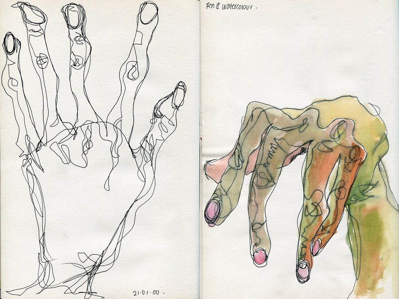 Continuous Line Drawing Famous Artists : Egon schiele hands drawing exercises