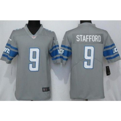 Men's Detroit Lions #9 Matthew Stafford Limited Gray 2017 Rush