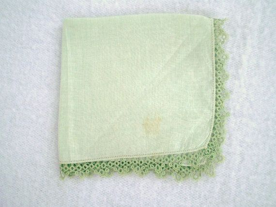 Vintage Celery Green Hankie by jclairep on Etsy, $4.00