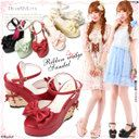Braided ribbon wedge-heel shoes ♪ ankle belt sandals