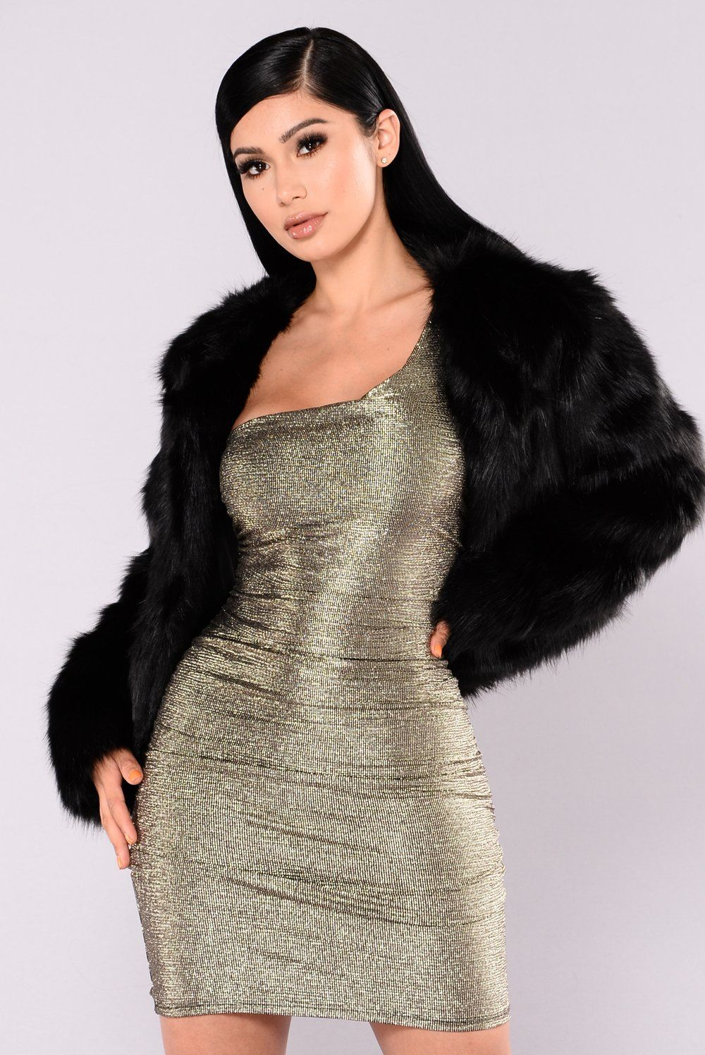 Franchesca Fur Jacket Black in 2020 Dresses, Fashion