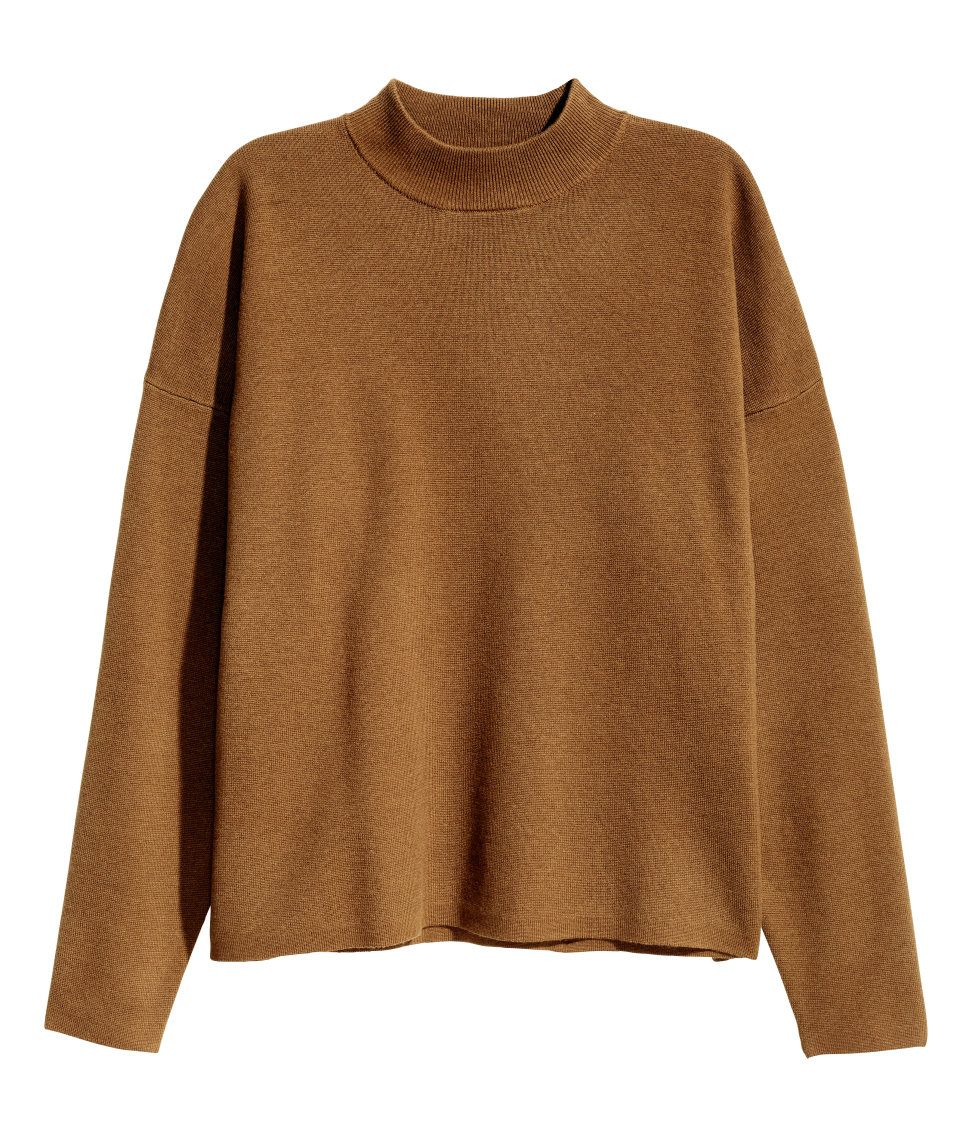 Camel. Fine-knit sweater in a cotton blend with a ribbed mock ...
