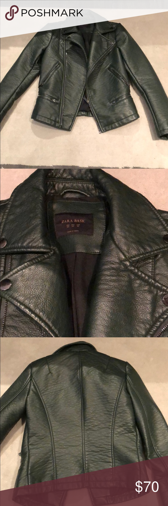 Zara Deep Forest Green Leather Jacket Green leather
