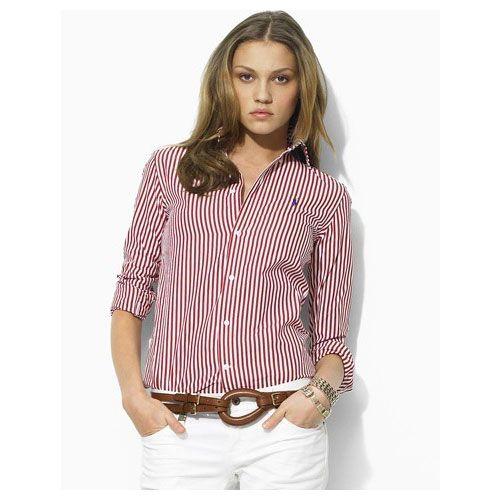 IU ready   crimson and cream stripes  ) (Ralph Lauren Women s 1009 Striped  Cotton Shirt in Red) 650ff5538