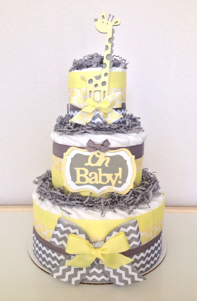Items Similar To Neutral Chevron Yellow And Gray Giraffe Diaper Cake Baby  Shower Centerpiece On Etsy