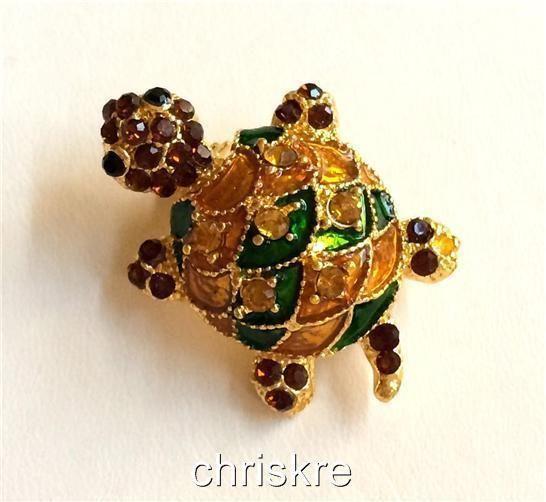 Brooche Turtle Pin Enamel Silver Plated rgQTj