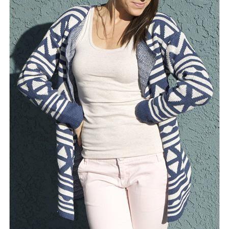 f747ce556 Fashionable Turn-Down Collar Geometric Pattern Long Sleeve Women s ...