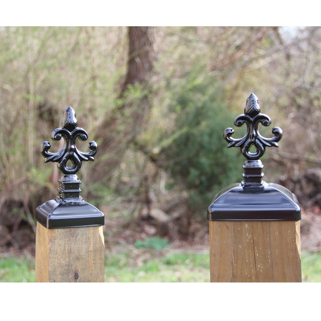 6x6 Wrought Iron Post Cap For Wood 6x6 Post Large Nottingham Acorn Design Wood Fence Post Wood Post Metal Art Decor