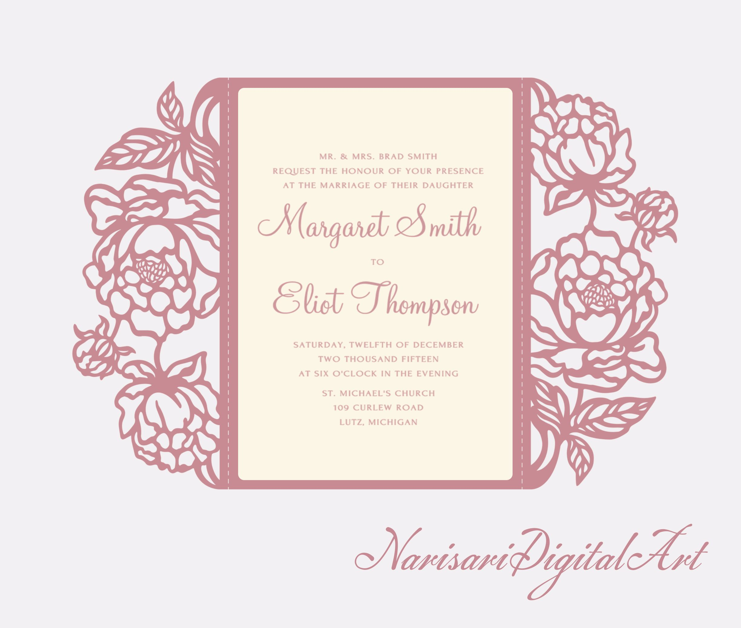 peonies cut wedding invitation 5x7 gate fold card template quinceanera invitation svg cutting. Black Bedroom Furniture Sets. Home Design Ideas
