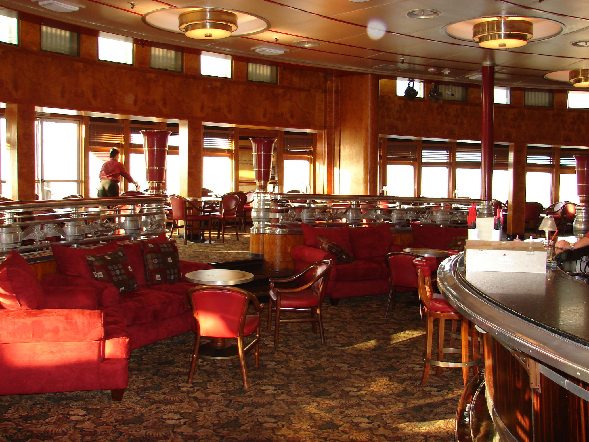 Queen Mary Historic Ocean Liner In Long Beach, Ca. Observation lounge/bar at the front of the ship below the bridge area.