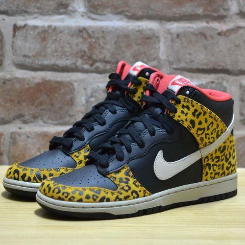 c50878e90c65 Nike Womens Dunk High Skinny Leopard Black Gold Sunburst Liberty Wmns  429984 011 | eBay
