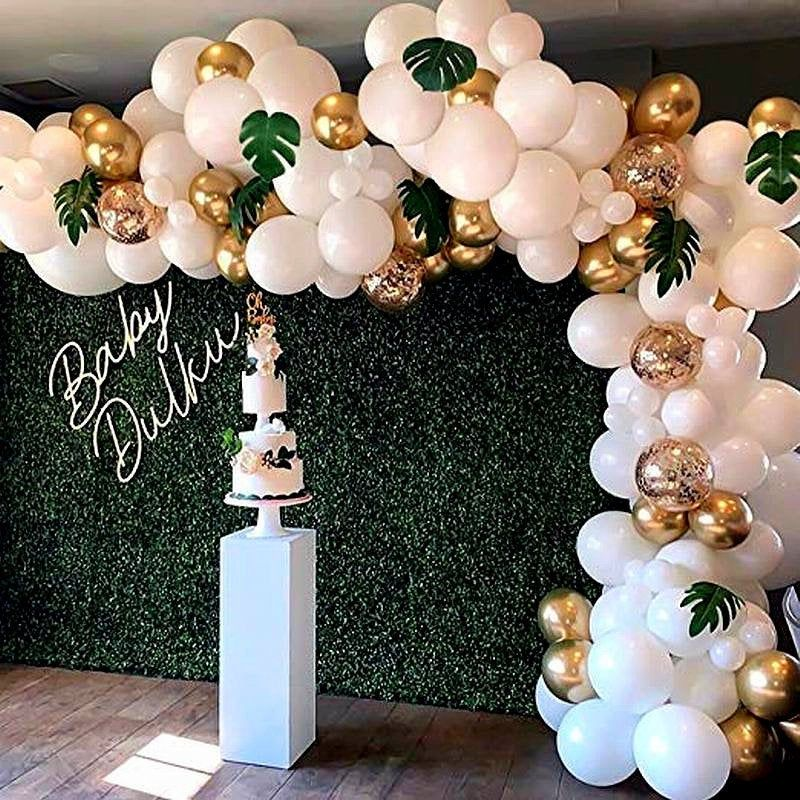 98 PCS Balloon Garland Arch Kit, White & Gold Confetti Balloons, Artificial Palm Leaves, Wedding Party Decor, Baby Shower, Birthday Balloons