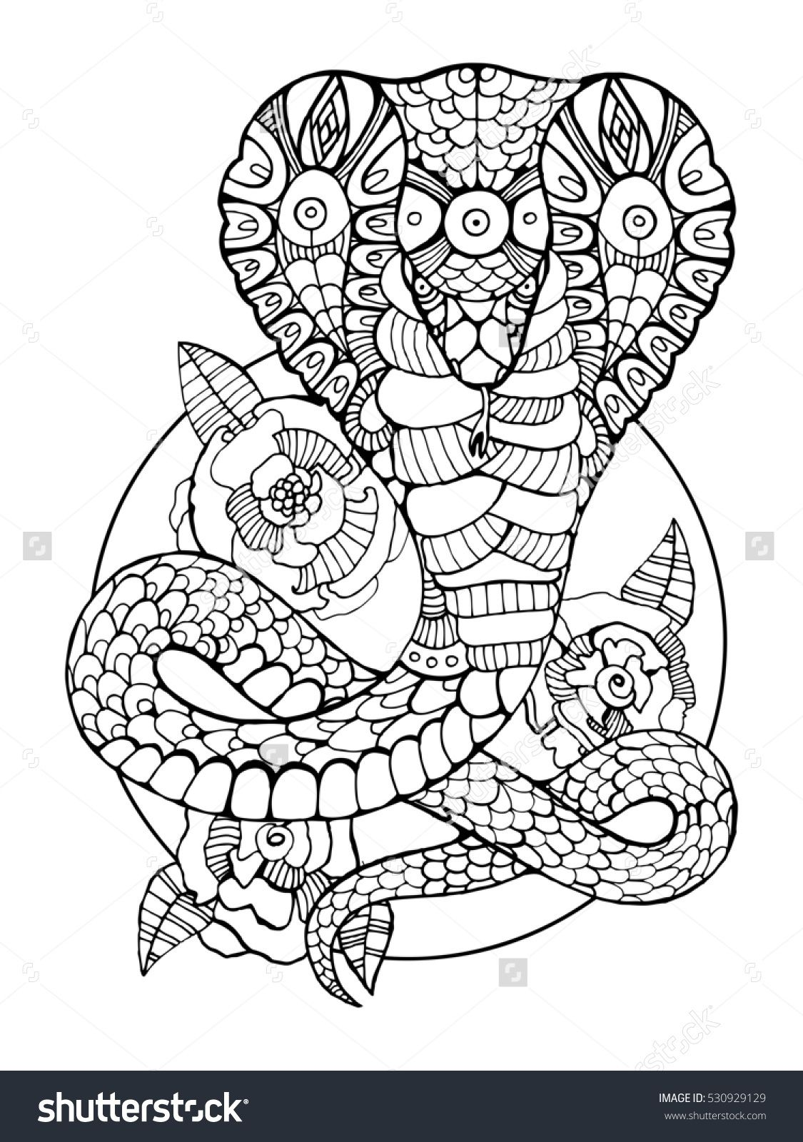 Cobra snake coloring book for adults raster illustration. Anti ...