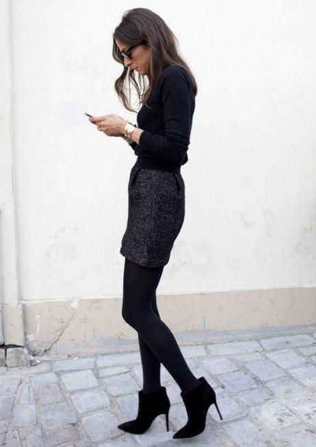 what-do-i-wear: Watch and learn from Capucine Safyurtlu above wearing thick black stockings to suede ankle boots.